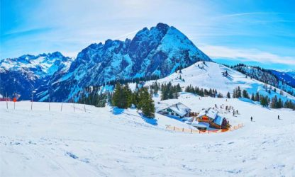 Winter panorama of Zwieselalm mount, Gosau, Austria