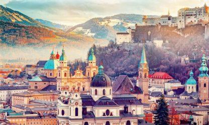 Salzburg, Austria, Europe. City in Alps of Mozart birth. Panora