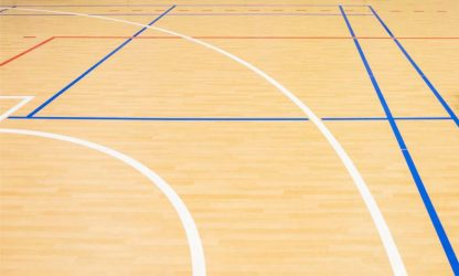 wooden floor volleyball, basketball, badminton court with light